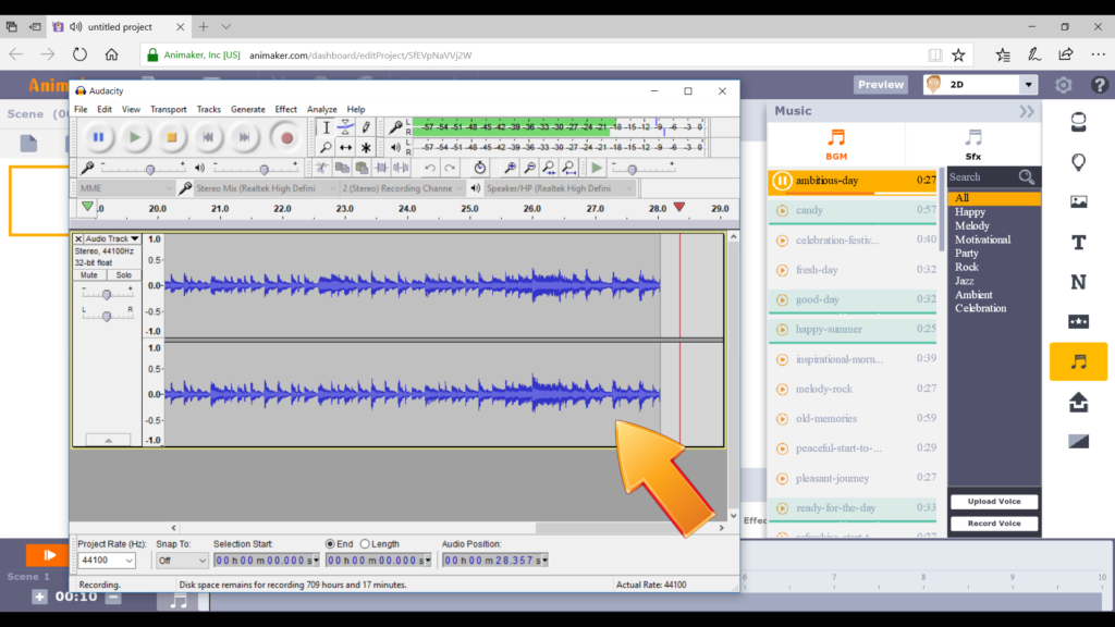 How to Fade Animaker's Background Music using Audacity